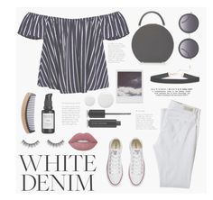 """""""How to Style: White Denim"""" by belleshines ❤ liked on Polyvore featuring AG Adriano Goldschmied, Converse, BUwood, Alice + Olivia, Polaroid, Root Science, Marc Jacobs, Topshop, Lime Crime and WhatToWear"""