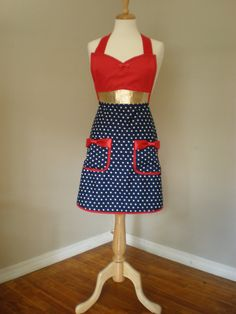 HauteMess Threads' wonder woman apron as featured in Bust Magazine. I like the suggestion of the corset on top....though if I do pockets, I want pattern going same direction, not so obvious.