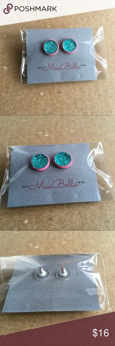 Aqua and pink druzy earrings Aqua color faux druzy and pink earrings.     Size: 12mm (approx half and inch).                          Material: metal  is lead and Nickle free silver is silver plated .  Comfort clutch earring backs Jewelry Earrings