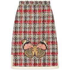 Gucci Multicolor Tweed Embroidered Skirt (€1.340) ❤ liked on Polyvore featuring skirts, multicolor, tweed skirt, butterfly print skirt, butterfly skirt, gucci and colorful skirts