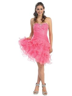 A-line Sweetheart Organza Short/Mini Sleeveless Beading Formal Dresses at Msdressy.com