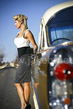Photo shoot with a model and a 55 Chevy
