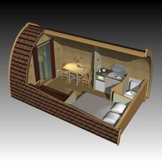 POD House: Unique little life experiences - dome house Tiny Cabins, Tiny House Cabin, Tiny House Living, Tiny House Design, Small House Plans, Arched Cabin, Camping Pod, Camping Gear, Casas Containers