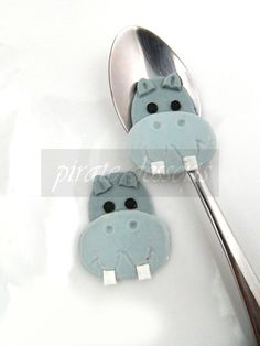 Edible cupcake toppers Grey Hippo Birthday Party cake decorations - Fondant wild things theme (A02) (6 pieces). $14.00, via Etsy.