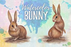 watercolor bunny by GRAPHOBIA on @creativemarket