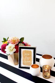 Pop Fizz Clink Gold Foil Sign | Hey Design Lady |Sparkles and Stripes - Kate Spade Wedding Inspiration!