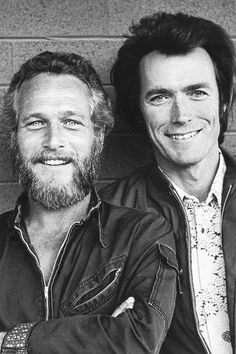 Vintage photo of a young & handsome Paul Newman & Clint Eastwood, photographed by Terry O'Neill,