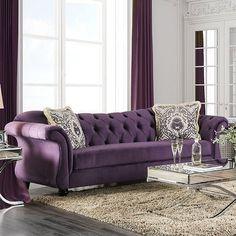 Furniture of America in Lakewood, WA - Antoinette Sofa Cute Living Room, Living Room Modern, Living Room Sofa, Living Room Furniture, Living Room Decor, Tufted Sofa, Sofa Upholstery, Chesterfield Sofa, Purple Sofa