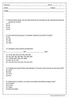 Avaliação de matemática: multiplicação, sequência numérica, horas e composição - 3º ou 4º ano