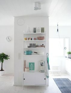 String shelf for the house design design and decoration interior design interior decorators Cheap Bookcase, String Shelf, Interior Decorating, Interior Design, White Rooms, Kitchen Interior, Decoration, Home And Living, Home Kitchens