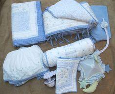 Pottery Barn 8 Pc. Crib Set Unisex Comforter Bumper Skirt Sheets Mobile Pillows #PotteryBarnKids