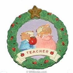 Apple For Teacher Wreath 1996 Hallmark Keepsake Ornament QX6121 Nina Aubé. Retired. $5.95
