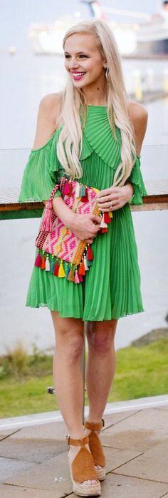 Green Pleated Open Shoulder Dress & Brown Platform Sandals