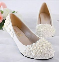 Ivory white lace pearls Wedding flats low heel wedge pump shoes Bridal size 5-12