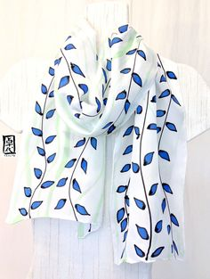 Hand Painted Silk Scarf, Blue and Green Vines Summer Scarf, White Silk Scarf, Silk Scarves Takuyo. Approx 11x60 inches. Made to order.