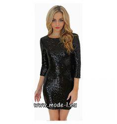 Kurzes Pailletten Kleid Party Kleid mit Ärmel in Schwarz