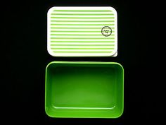Bento Box Lunch Box 1 Tier Green And White Stripes
