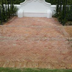 Lanes Ceramic Works klompie bricks laid in herringbone pattern in the gardens at Vrede en Lust