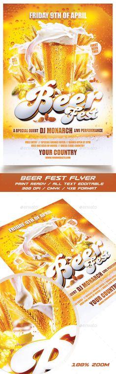 Beer Fest Flyer Template PSD #design Download: http://graphicriver.net/item/beer-fest-flyer/14263076?ref=ksioks