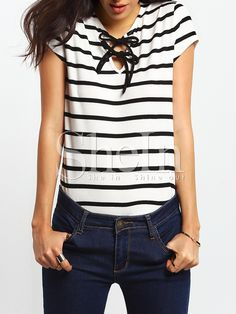 Shop Black White Short Sleeve Self-tie Neck -shirt online. SheIn offers Black White Short Sleeve Self-tie Neck -shirt & more to fit your fashionable needs.