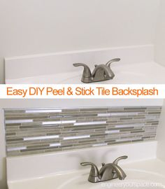 DIY Small bathroom remodel with a Smart Tiles peel and stick backsplash - this small project only took an hour to do, was mess free (no grouting!) and didn't require any special tools! #sponsored