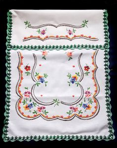 Vintage embroidered floral decor curtain panel wall hanging