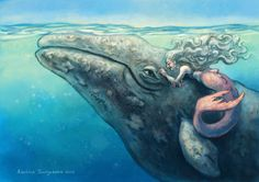 """When they were little girls, they decided that they would be best friends forever. A whale never forgets a promise."" -Anneliese Juergensen.. Wow I've never seen art of an old mermaid before"