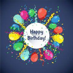 Happy Birthday card with multicolor balls, serpentine and confetti . Happy Birthday Ballons, Happy Birthday Art, Happy Birthday Pictures, Happy Birthday Messages, Happy Birthday Greetings, Birthday Fun, Birthday Clips, Birthday Blessings, Happy Anniversary