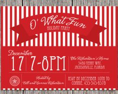 DIGITAL Classy Holiday Christmas Party Invitation, red stripped, Printable DIY