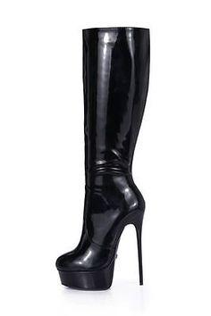 GIARO Galana-1003 Luxus Damen Herren Plateau-Stiefel Schwarz Lack EU 37 - 46