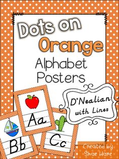 """Looking to update your classroom references? Your room will look totally cute with this orange polka dots themed set of alphabet posters. DNealian styled font with handwriting lines. Each poster prints nicely on standard 8.5 x 11"""" paper. 64 Alphabet Cards to choose from!A- anchor, alligator, appleB- bucket, bee, boatC- cow, cactus, cloudD- dog, dinosaur, dragonflyE- elephant, easelF- fish, flip flops, frogG- goat, globe, gorillaH- hippopotamus, house, hotdogI- igloo, ice creamJ- jellyfish…"""