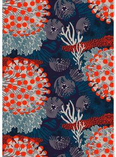 Merivuokko-pellava (petrooli, beige, punainen) | Kankaat, Pellavat | Marimekko | Kustaa Saksi
