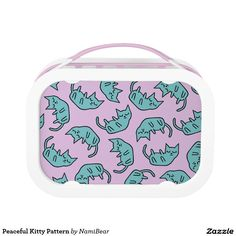 Peaceful Kitty Pattern lunch box by NamiBear on Zazzle.com. A drawing of a cute kitty sleeping. Very pop and kawaii pattern. Perfect for school kids!