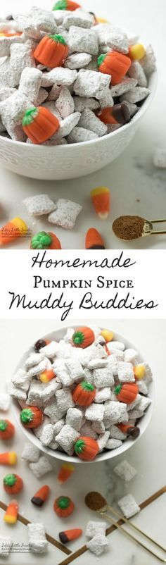 Homemade Pumpkin Spice Muddy Buddies are the perfect Fall snack for Halloween, after sports practices, entertaining or any gathering. It has rice Chex cereal, infused with pumpkin spice mixture and topped with Autum-themed Mallowcreme candies.