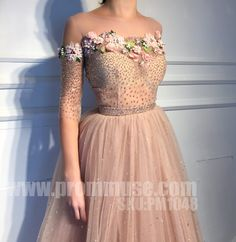 Charming Affordable Half Sleeves Applique Long Evening Prom Dresses The dress is fully lined 4 bones in the bodice chest pad in the bust lace up back or zipper back are all available. This dress could be custom made in size and color there are Pretty Outfits, Pretty Dresses, Beautiful Dresses, Evening Dresses, Prom Dresses, Formal Dresses, Rose Gown, Winter Mode, The Dress