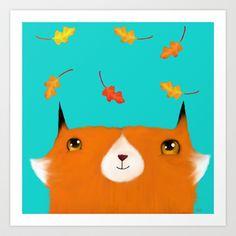 Autumn Leaves Fox Art Print by Dale Keys - $18.00