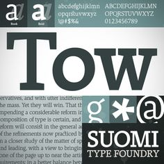 Tow is a basic slab serif font great for setting text. Old style numerals, ligatures and small caps add to its versatility. http://www.fontspring.com/fonts/suomi-type/tow