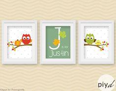 Custom Nursery print set playroom art set autumn leaves by PIYd