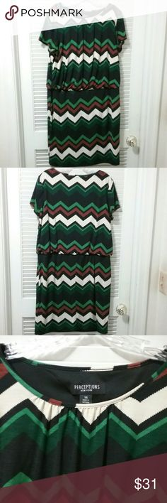 "Perceptions Pleated Chevron Plus Size Modest Dress Pleated in front  and back with multi-colored Chevron design. Knit dress. Modest, great for work or parties and hides imperfections and tons of stretch.  Blousy at the top.  Lined.  Bust: 25"", Length 37.5"". Perceptions Dresses Midi"
