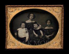 Beautiful (5 1/2 x 4 1/4 - uncased half-plate) daguerreotype of four children…