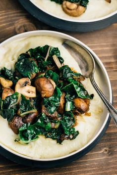 Creamy and comforting Cauliflower Puree topped with sautéed mushrooms, swish chard and shallots, an excellent dish for entertaining or a night at home.