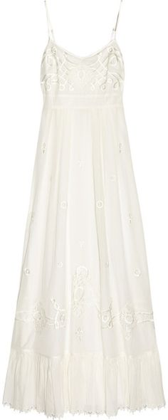 Aliza Embroidered Cotton-blend Maxi Dress - Lyst