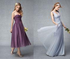 Monique Lhuillier ruched waistline tulle bridesmaid dresses 2015