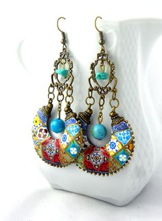 Portugal Antique Azulejo Tile Replica CHANDELIER EARRINGS - Individually Placed Tiles - Persian Bohemian Boho Gypsy Hippie Mosaic Arab