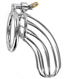 Prevent unwanted erections with the Bird Cage Chastity Device. This high-quality chastity device is designed for the more well-endowed male. Pull the penis and testicles through the base-ring and then slide the cage over the penis. Fit the two pieces together, and secure with the pad lock.