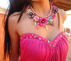 bejeweled garden necklace croset handmade rhinestone by GoGosJouls Bohemian Flowers, Vintage Bohemian, Handmade Home Decor, Jewerly, Upcycle, Jewelry Design, Pendants, Crystals, Crochet