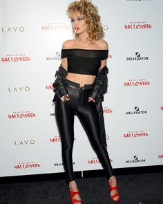 Gigi Hadiddressed as a super-sexy Sandy from Grease -- post-Pink Ladies' makeover -- for Heidi Klum's Halloween bash!