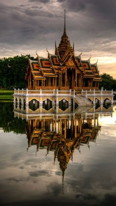Summer Palace Thailand Aisawan Dhiphya-Asana Pavilion reflection on the water.