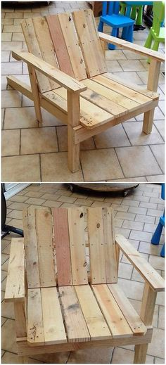 A much simple crafting of the Adirondack chair has been all done here for you. This wood pallet chair design is rather put into the finishing modes of being rough and much artistic looking in variations. You can make it's perfect use for the outdoor seating arrangement access.