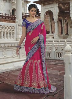 $166.31 Pink Faux Georgette Saree 19623 With Unstitched Blouse